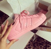 shoes,pastel sneakers,pink sneakers,pink,adidas supercolor,adidas,adidas wings,adidas tracksuit bottom,pink dress,two-piece,color brand adidas,adidas x pharell williama superstar supercolor,soft pink,sneakers,addidas superstars,cute,addias shoes,girl,girly,girly wishlist,adidas shoes,adidas superstars,adidas originals,low top sneakers