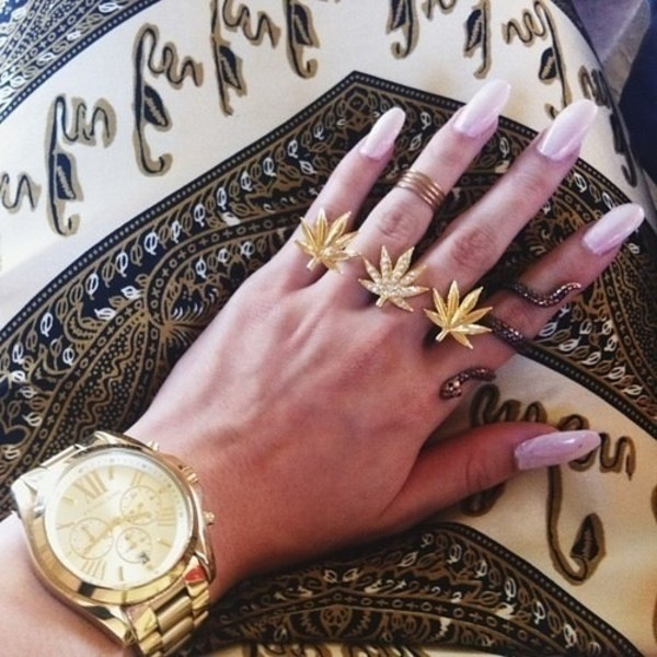 jewels weed gold three rings ring glitter the bling ring musthave cute weed ring set gold ring