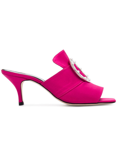 Dorateymur women mules leather purple pink satin shoes