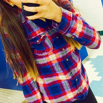 shirt red blue white plaid shirt flannel flannel shirt
