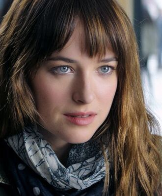 scarf printed scarf brunette dakota johnson fifty shades of grey