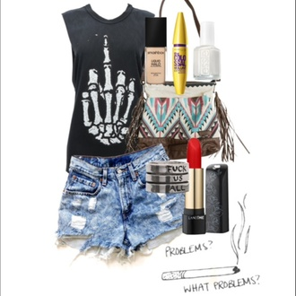 bag fuck off tank top make-up mascara lipstick red black denim shorts high waisted shorts nail polish white skeleton skeleton hand rude top shirt t-shirt