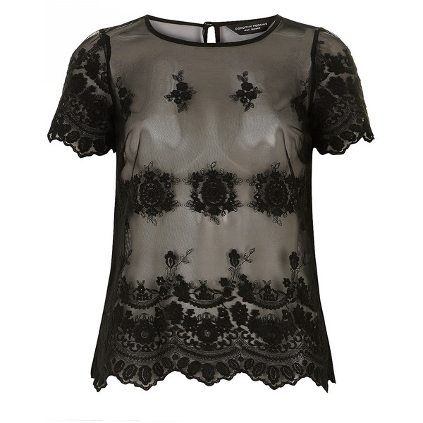Dorothy Perkins Black Lace Tee - Polyvore