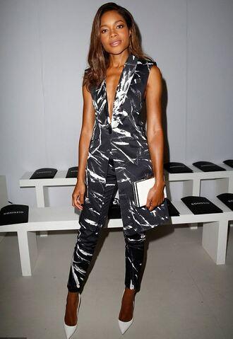 pants naomie harris pumps clutch vest suit black and white jumpsuit