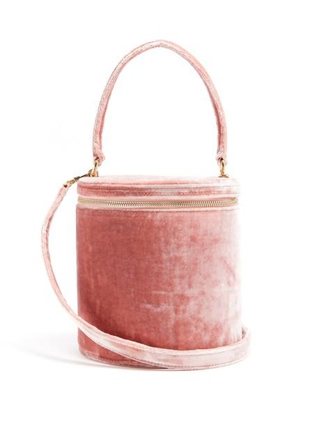 Staud bag bucket bag velvet light pink light pink