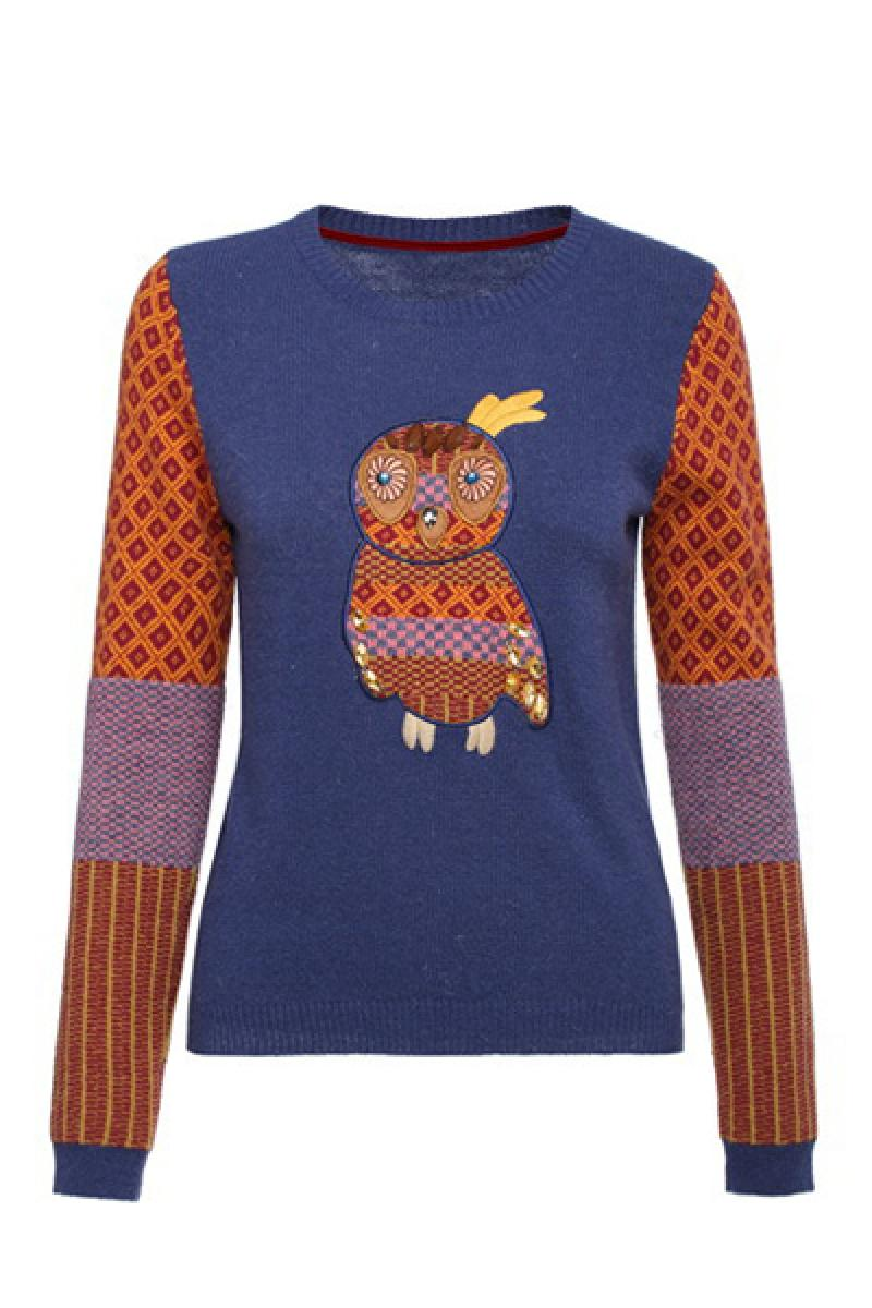 New Owl Pattern Crewneck Long Sleeve Pullover Sweater,Cheap in Wendybox.com