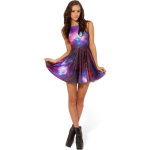 Galaxy Purple Reversible Skater Dress - Polyvore