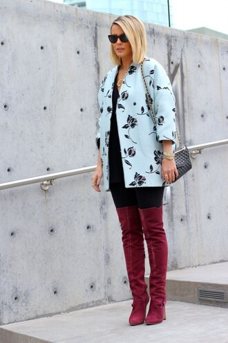 the courtney kerr blogger jacket sunglasses thigh high boots floral suede boots leggings shoes jewels bag blue coat light coat burgundy shoes