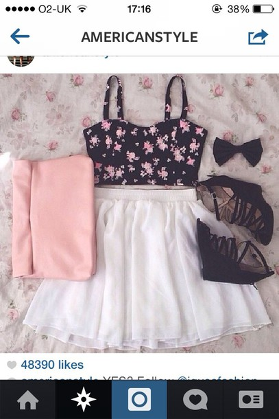 shirt skirt shoes floral tank top top white