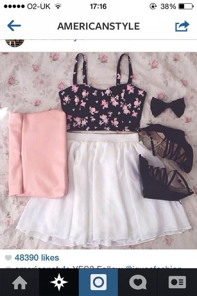 shirt skirt shoes floral tank top top