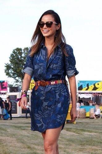 dress shirt dress jamie chung belt summer outfits summer dress denim dress