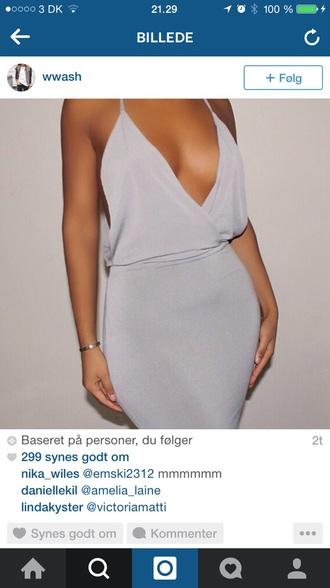 dress low neckline grey dress purle dress