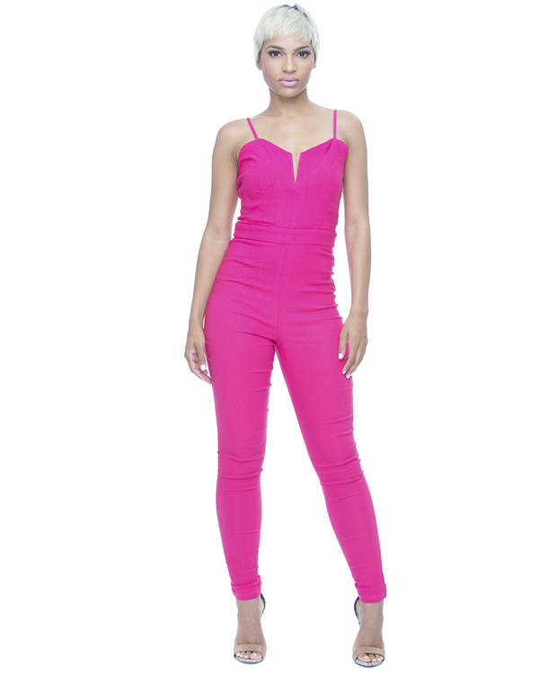 MIDNIGHT RUN Stretch Jumpsuit in Hot Pink – FLYJANE