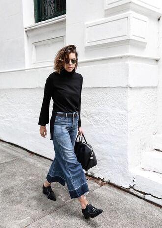 blouse bag top black top turtleneck denim jeans shoes black shoes black bag sunglasses