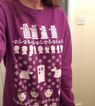sweater doctor who jumper christmas sweater christmas dalek the doctor pullover purple sweater purple whovian tardis snowflake