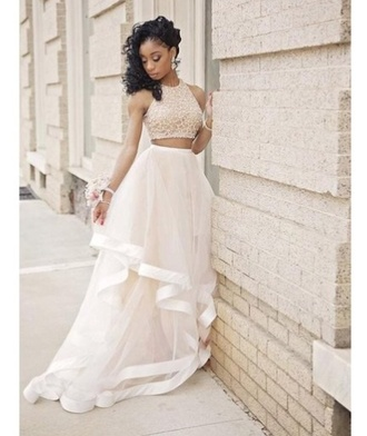 dress prom dress two-piece haulter top dress skirt style cute dress
