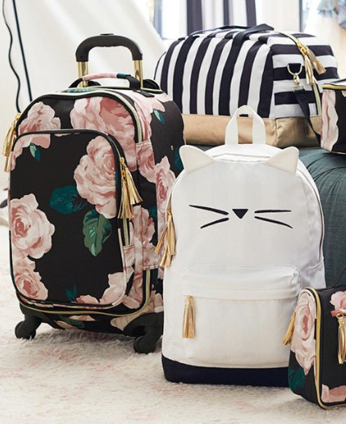 a93578dc6 bag backpack travel bag floral Emily & Meritt PBteen phone cover duffle bag  cats carry-