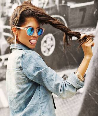 sunglasses acid wash cute denim coat casual boyfriend blazer blouse bracelets ring errings