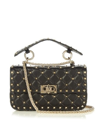 cross mini quilted bag leather black