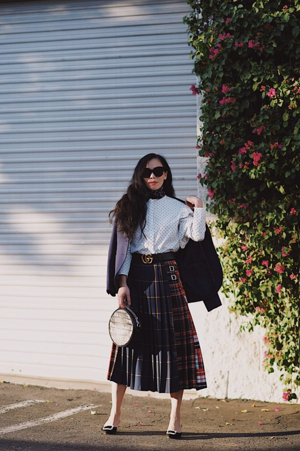 hallie daily blogger jacket skirt shirt blouse sunglasses bag belt scarf gucci belt round bag midi skirt winter outfits