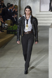 jacket,fall outfits,pants,belt,kendall jenner,NY Fashion Week 2016,ralph lauren,runway,model