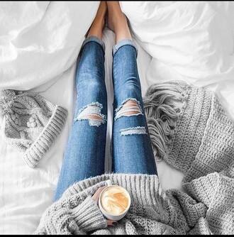 sweater girly grunge boho boho baggy tumblr tumblr outfit tumblr girl cozy jumper heavy knit jumper grey