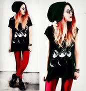 pants,red,grunge,fashion,punk rock,black milk inspired,shirt,moon shirt,moon phases,black shirt