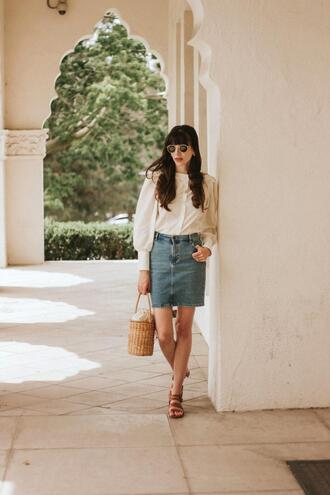 jeans and a teacup blogger skirt blouse shoes bag jewels sunglasses denim skirt basket bag sandals spring outfits