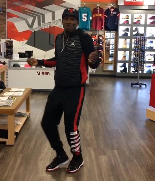 8f9933f0de3b09 jumpsuit jordan red black air jordan outfit bred 11s