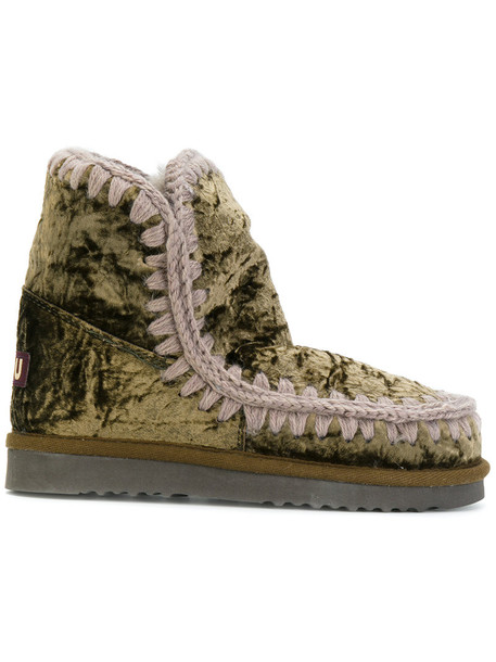 fur women cotton wool green shoes