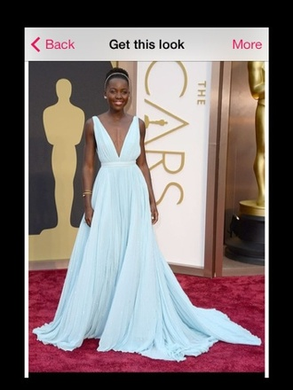 dress prom long prom dress lupita nyong'o oscars blue dress long blue plunging neckline plunge neckline open back backless dress backless prom dress