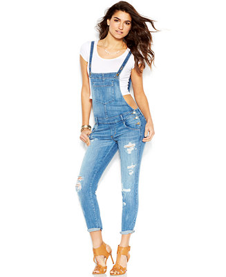 ccd34f20b74 GUESS Skinny-Leg Cross-Strap Distressed Denim Overalls – Jeans – Women –  Macy s