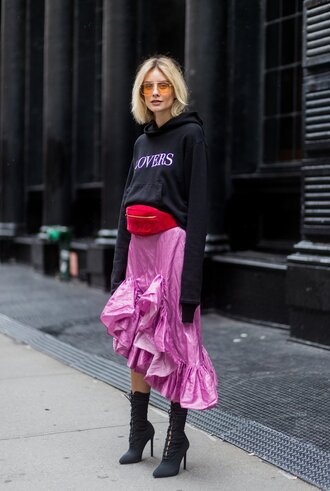 skirt pink sweatshirt sweater ankle boots streetstyle midi skirt nyfw 2017 ny fashion week 2017