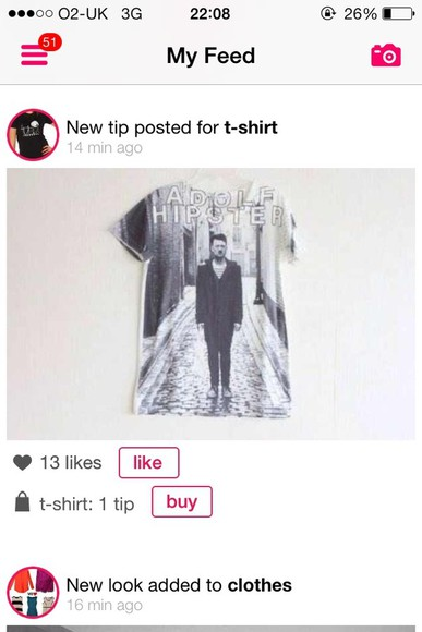 shirt tumblr cute pretty funny adolf hipster banter hot grumge swag yolo indie