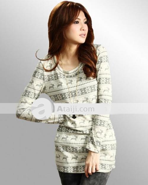 $36.69 aifeiyiyi cerfs rondes modèle femme cou à manches longues pull en tricot