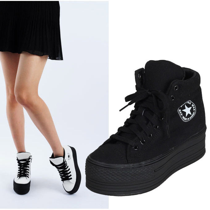 New Womens Ladies High Top Canvas Zip Light Platform Hidden Wedge Sneakers Black | eBay