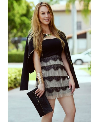 Trendy Clothing, Fashion Shoes, Women Accessories | Lace Tiered Black Cocktail Dress  | LoveShoppingMiami.com