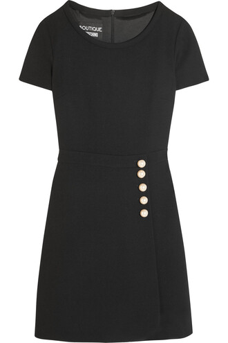 dress mini dress mini pearl embellished wool black