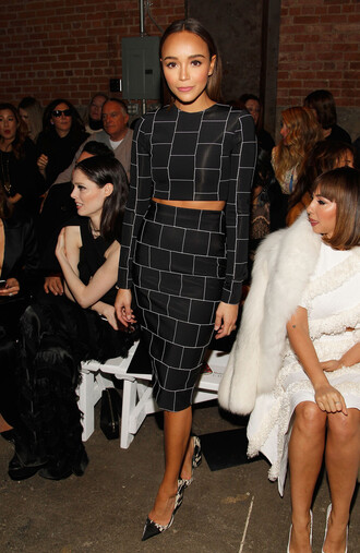 skirt bodycon two piece dress set two-piece ashley madekwe pumps top crop tops pencil skirt fashion week 2016 ny fashion week 2016