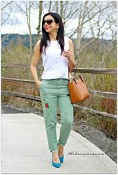 theboxqueen,blogger,top,jeans,shoes,bag,sunglasses,jewels,handbag,tank top,white top,blue heels,high heel pumps