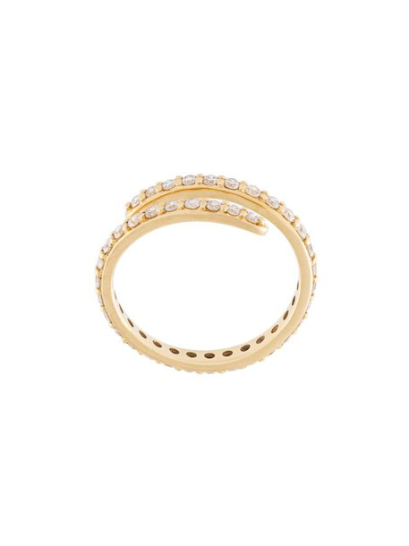 SARAH NOOR diamond ring women ring gold yellow grey metallic jewels