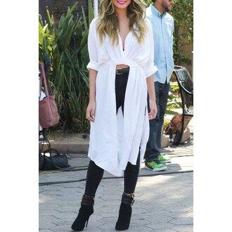 blouse white long sleeves asymmetrical stylish long sleeve shirt collar white slit high-low hem shirt for women fashion trendy rose wholesale-jan