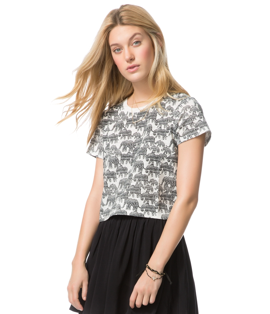 Aeropostale Womens Elephant Print Crop Top | eBay