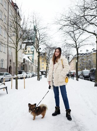 kenza blogger jacket jeans shoes bag fuzzy coat winter outfits yellow bag boots