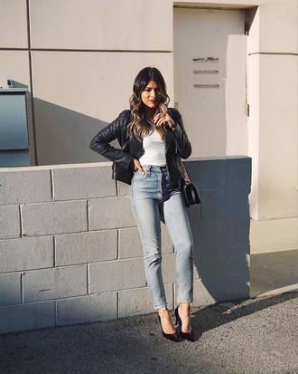 jeans black jacket tumblr blue jeans denim pumps jacket top white top leather jacket bag black bag