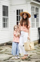 dress corilynn,blogger,top,hat,bag,shoes,jewels,shirt,mother and child,straw bag,spring outfits,loafers