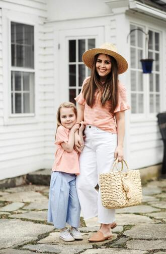 dress corilynn blogger top hat bag shoes jewels shirt mother and child straw bag spring outfits loafers