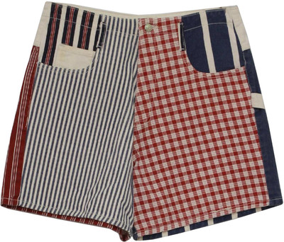 Pocket totally 80s shorts with side loop and belt carriers, back yoke with metal zipper fly and button closure