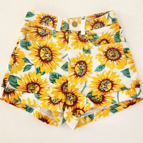 sunflower hipster floral shorts fashion shorts