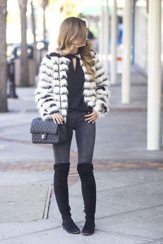 jacket tumblr stripes fur jacket faux fur jacket printed fur jacket jeans grey jeans skinny jeans top black top boots flat boots black boots over the knee boots bag black bag